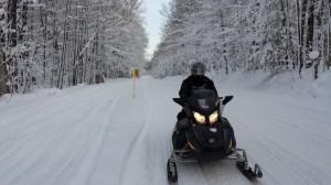 Bergland, MI snowmobile trails snowy trees